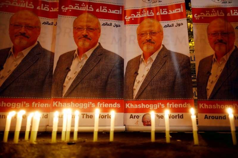 2018年10月25日,沙烏地阿拉伯異議記者哈紹吉慘遭沙國「謀殺小組」殺害、分屍,民眾悼念哈紹吉。(AP)