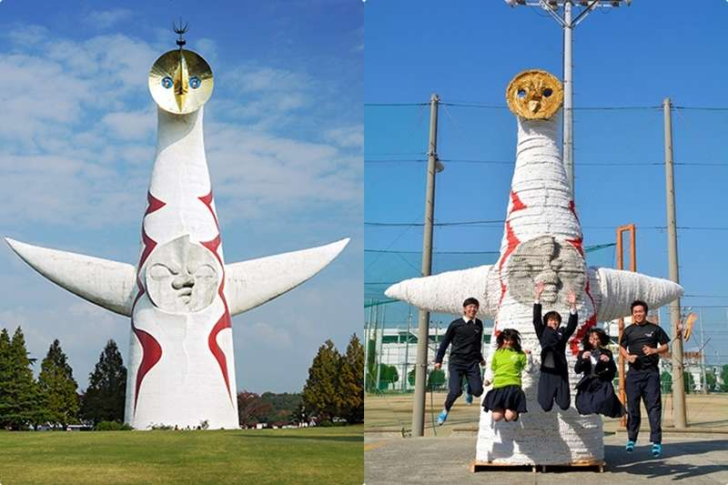 大阪萬博的象徵物「太陽之塔」(左,取自維基百科)與環保版的對比(右,潮日本提供)(風傳媒合成)