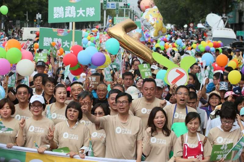 因韓流來襲,激發綠軍在高雄的危機感,幾場造勢到場人數都以萬計。(柯承惠攝)