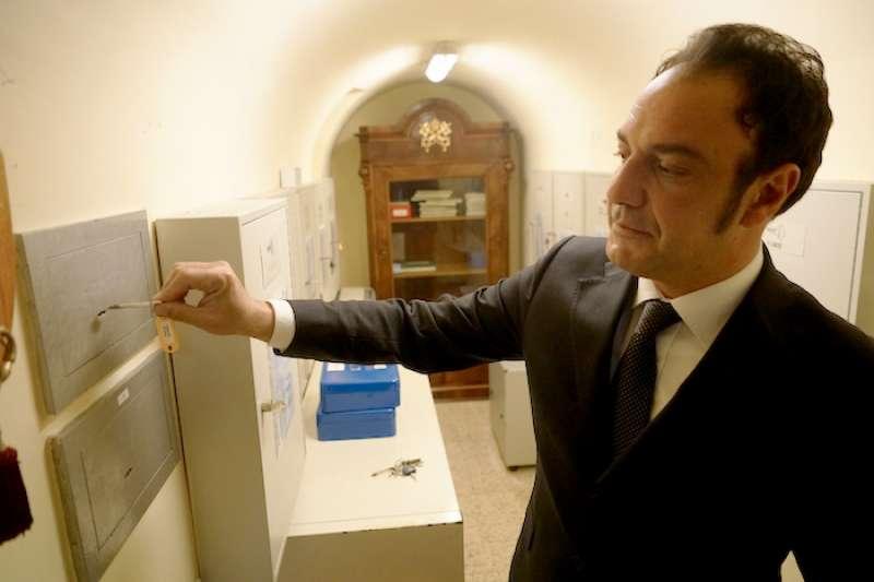 梵蒂岡博物館放鑰匙的狹小閉室。(曾廣儀攝)