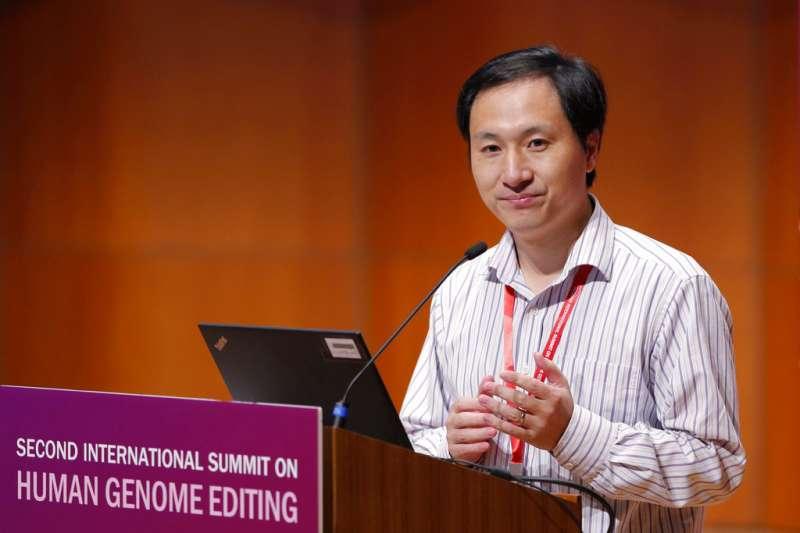 11月28日,中國科學家賀建奎在基因編輯嬰兒爭議延燒後首度公開露面,說明研究詳細內容。(AP)