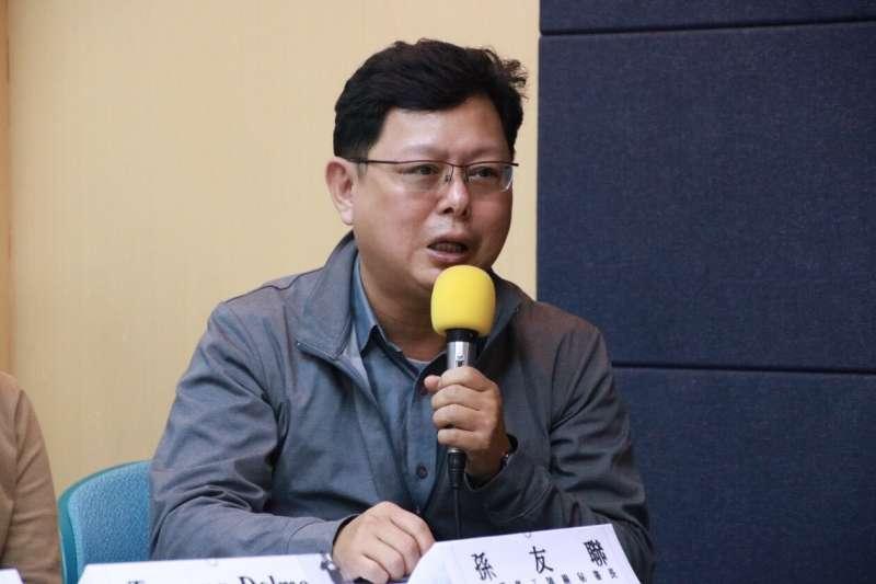20181128-台灣人權促進會28日舉行「李明哲宣判一周年。再度失聯。各界集結捍衛台灣自由與人權。」記者會。台灣勞工陣線成員孫友聯。(台權會提供)