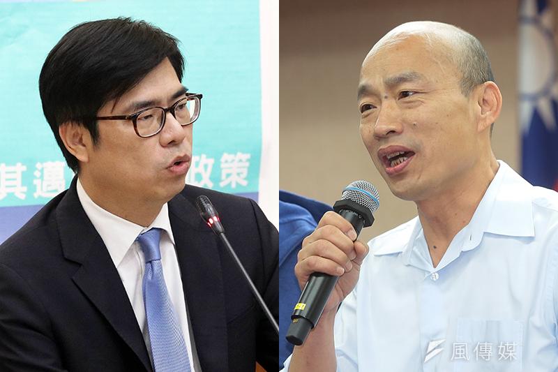 民進黨高雄市長參選人陳其邁(左)和國民黨候選人韓國瑜(右)。(蘇仲泓、顏麟宇攝)