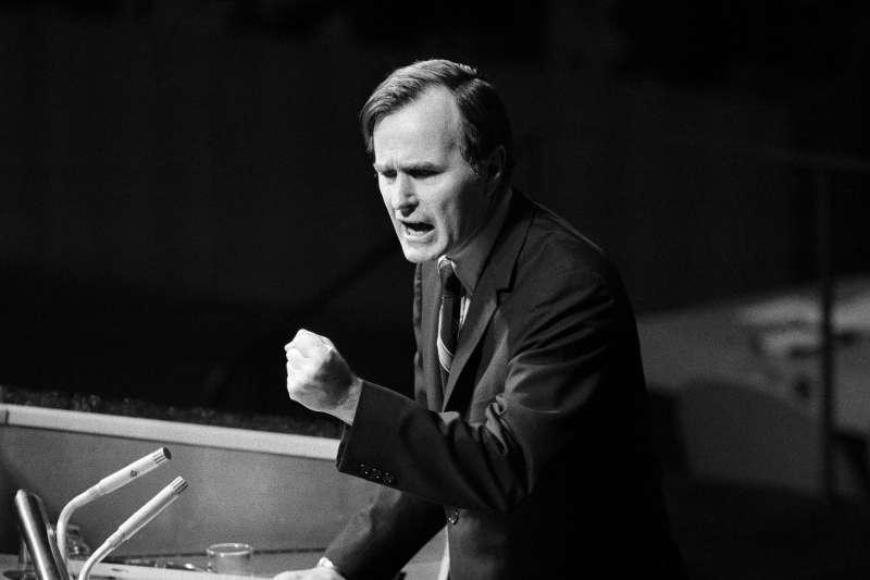1971年,在聯合國力倡「雙重代表權」,努力保住中華民國聯合國代表權的老布希。(AP)