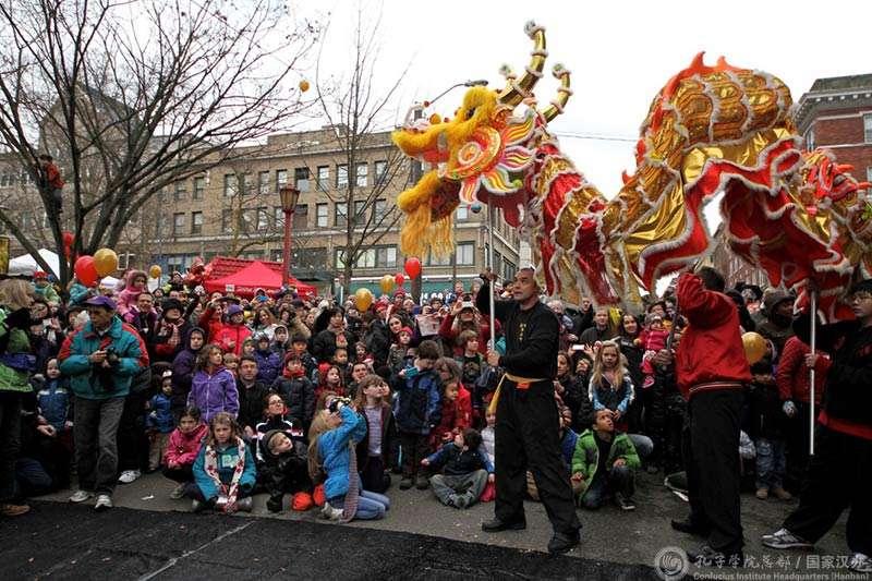 孔子學院旗下的孔子課堂,2017年在美國華盛頓州舉行春節慶祝活動。(中國國家漢辦)