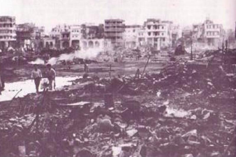 gggaE:第二次中東戰爭的戰火波及當地城市。(取自維基百科)