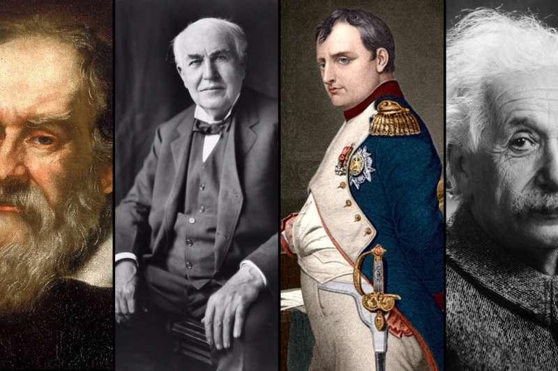 伽利略、愛迪生、拿破崙及愛因斯坦等人皆是被「遺體崇拜」的對象,他們的器官被膜拜者收藏起來,有些至今仍下落不明。(圖/Wikipedia,風傳媒合成)