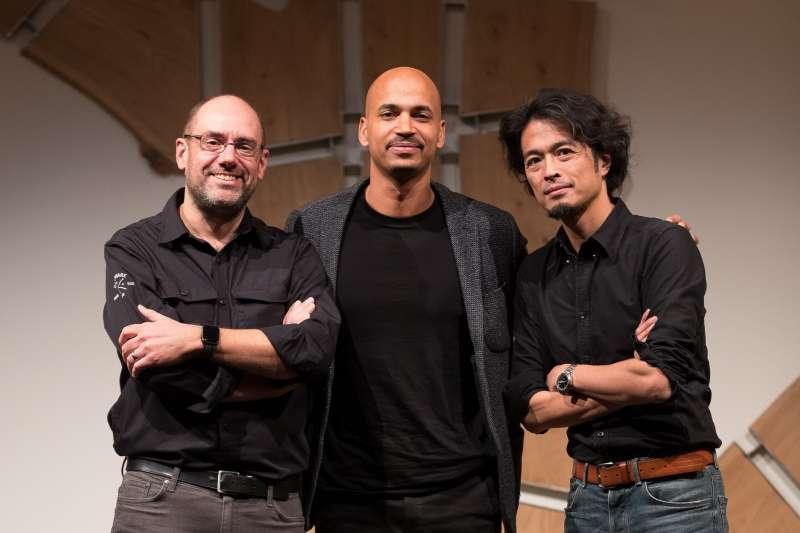 2018-12-06 Hardware Club三位合夥人(由左至右):Aymerik Renard、Alexis Houssou和作者(作者楊建銘提供)
