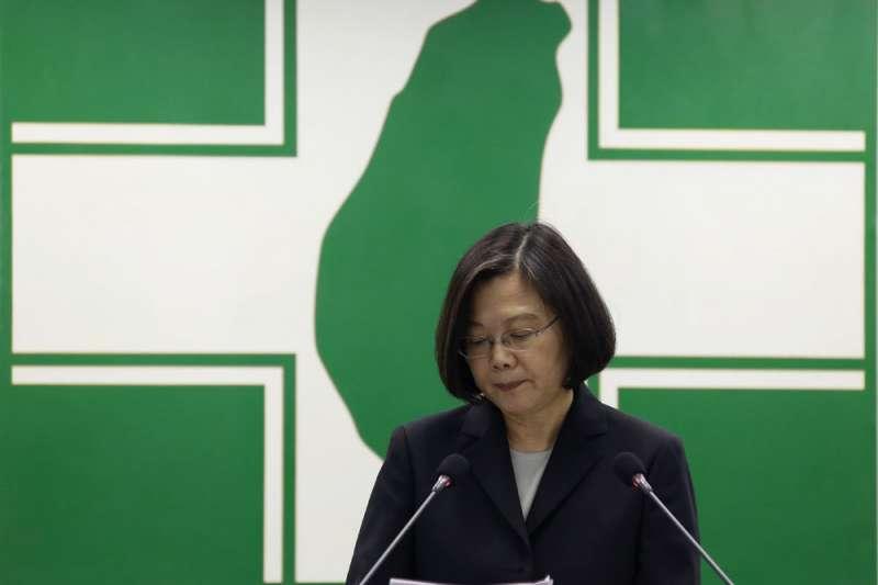 民進黨敗選,蔡英文不兼黨主席,黨再度恢復為選舉機器。(郭晉瑋攝)