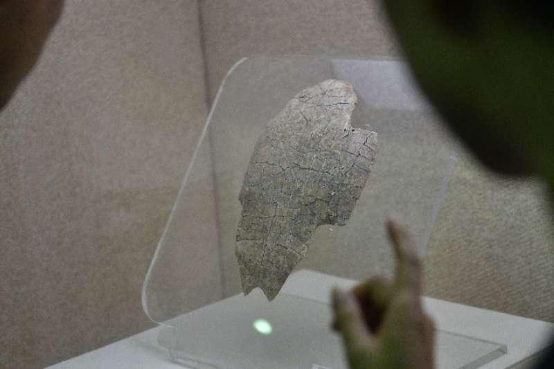中國羌族博物館展示的上面有「羌」字的甲骨文(複製品)(新華社)