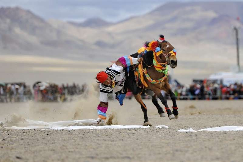 西藏阿里的一名農牧民在騎馬撿哈達比賽中(新華社)