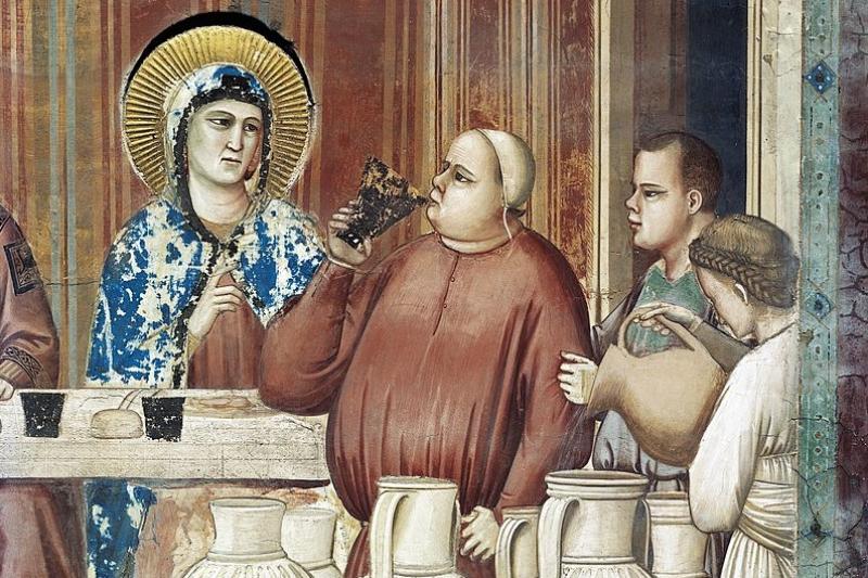 喬托所繪《迦拿的婚禮》細部,Cappella degli Scrovegni。(作者提供)