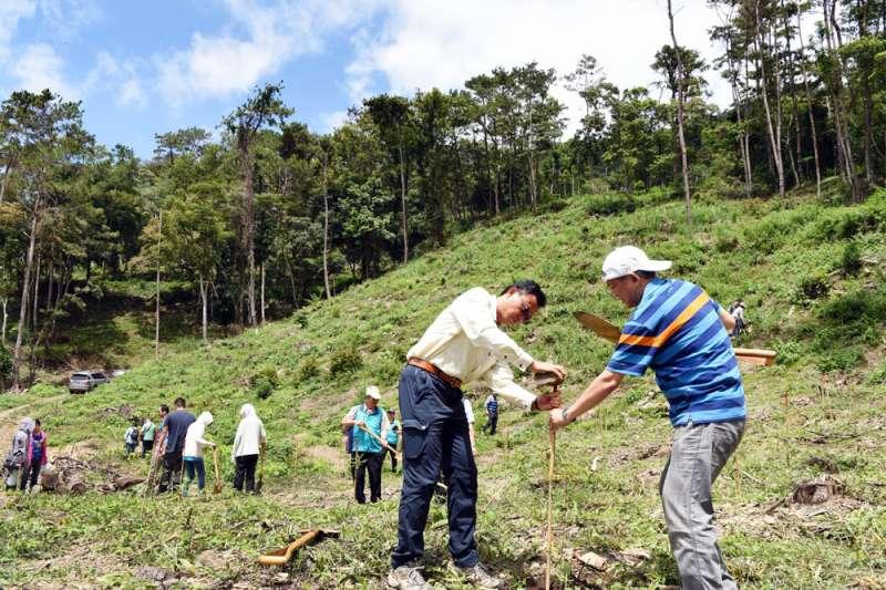 農委會林務局公布中央山脈南南段記錄到的珍貴原始檜木林,恐引發盜木風險遭批評。圖為日月光與林務局屏東林管處攜手種樹。(資料照,日月光提供)