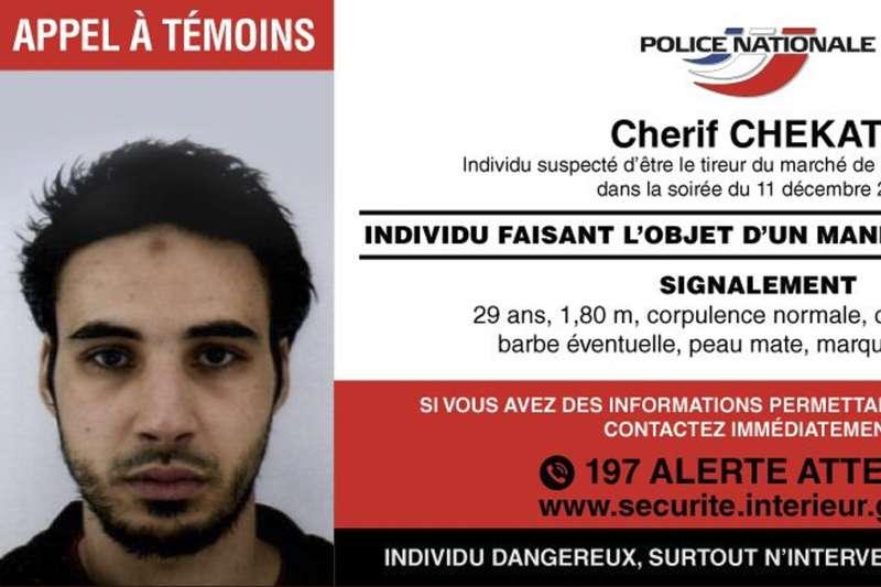 法國史特拉斯堡(Strasbourg)耶誕市集恐攻嫌犯切卡特(Cherif Chekatt)(AP)