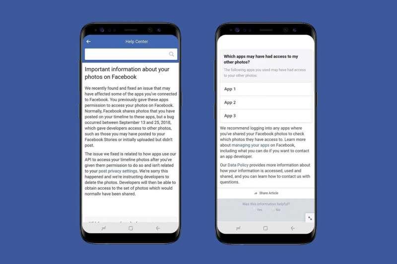 臉書爆發680萬用戶照片未經允許即外洩的漏洞,臉書呼籲受影響用戶進入幫助中心(Help Center)檢視受影響的情況。(Facebook for Developer)