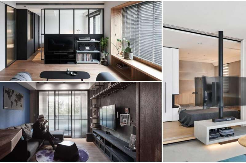 20 坪以下客廳怎規劃?拿捏電視的尺寸、高度與觀賞距離,甚至是牆面跟家具的比例,都是格局規劃相當重要的議題。(圖/設計家Searchome提供)
