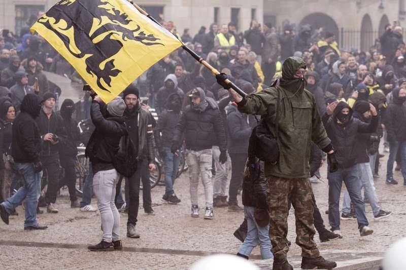 比利時反難民示威(AP)