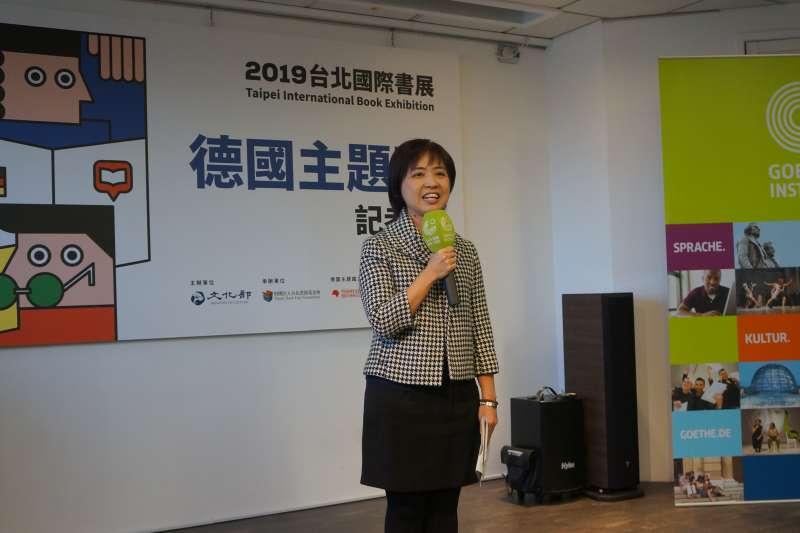 2019台北國際書展明年2月登場,18日公開來台國際作家名單。圖為文化部人文出版司司長陳瑩芳。(台北書展基金會提供)