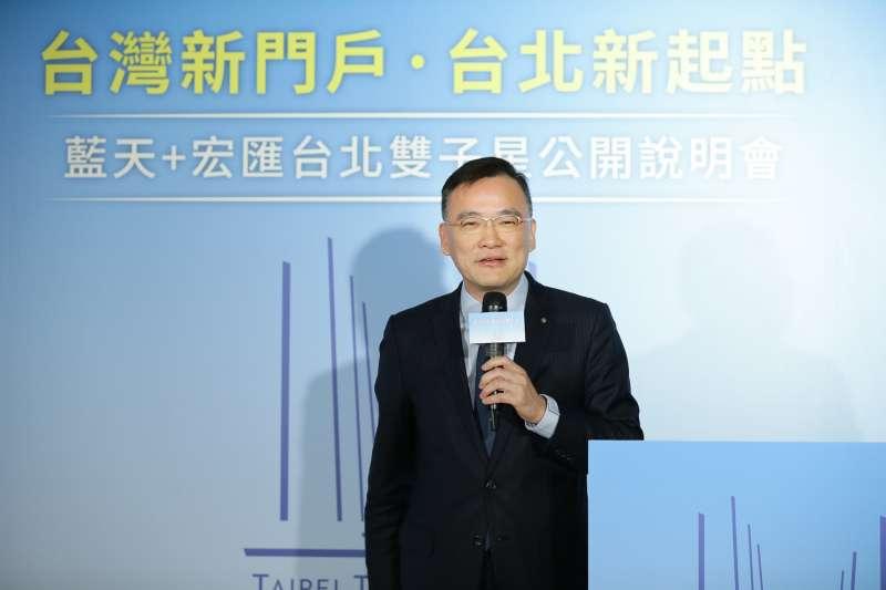20181219-藍天宏匯團隊19日召開記者會,公布台北雙子星標案設計圖案。高力國際股份有限公司董事總經理劉學龍。(藍天宏匯提供)