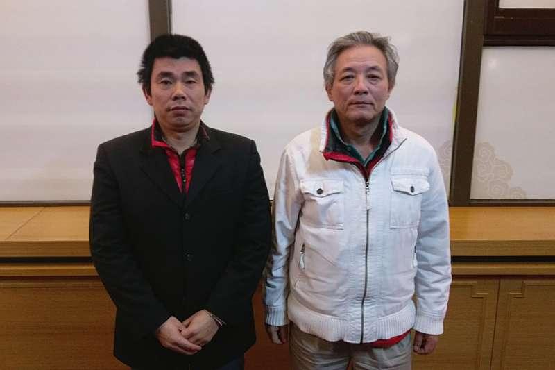 中國民運人士顏伯鈞(左)與劉興聯(右)至今已滯留桃機近3個月。(金哲烈攝)