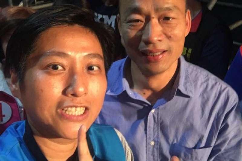 新科高雄市長韓國瑜(右)任命朱挺玗(左)出任海洋局長,遭準市議員林智鴻指稱「海洋學界崩潰了」。(資料照,取自朱挺玗臉書)