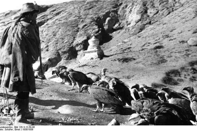 1938年天葬的照片。(圖片取自維基百科)