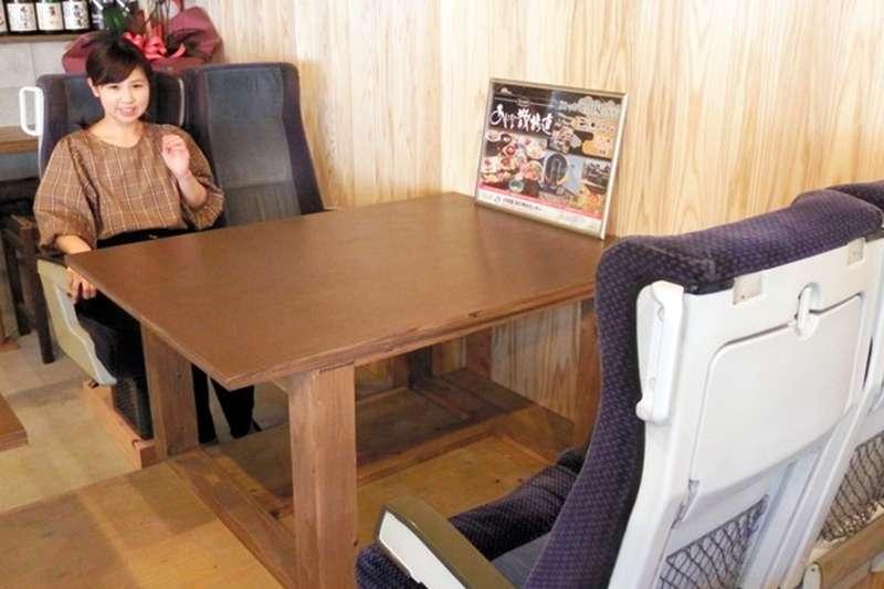 將退役的特急列車座椅再次利用,當成餐廳座位的座椅。(圖/潮日本提供)