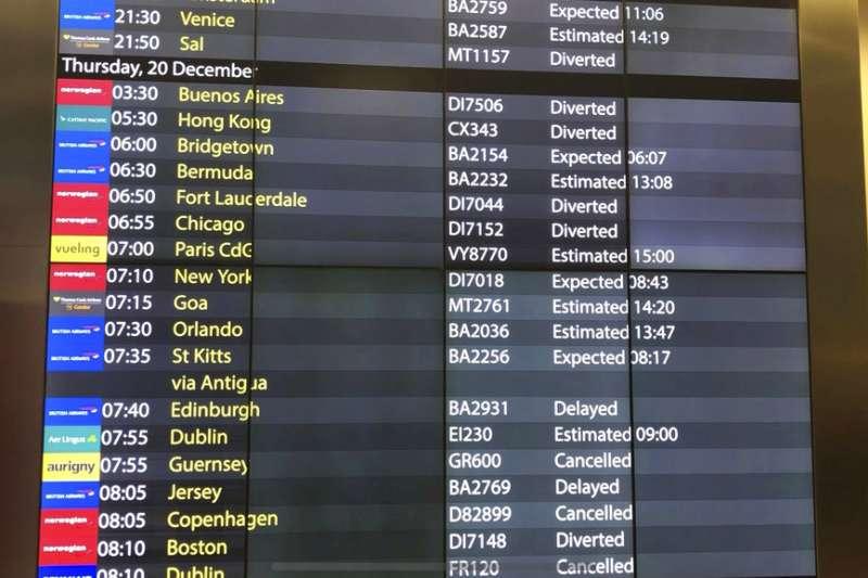 2018年12月20日,英國倫敦蓋威克機場發生「無人機之亂」,航班被迫取消。(AP)
