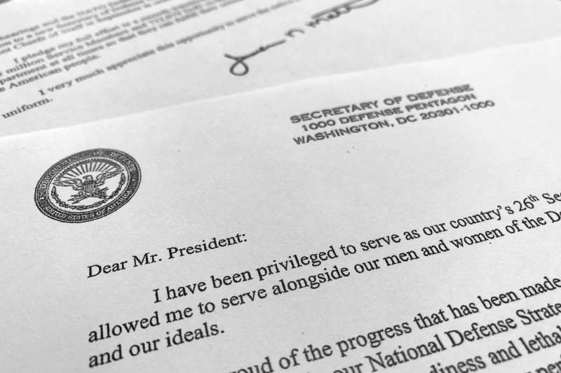 2018年12月20日,美國國防部長馬提斯(Jim Mattis)宣布辭職,這是他的辭呈(AP)