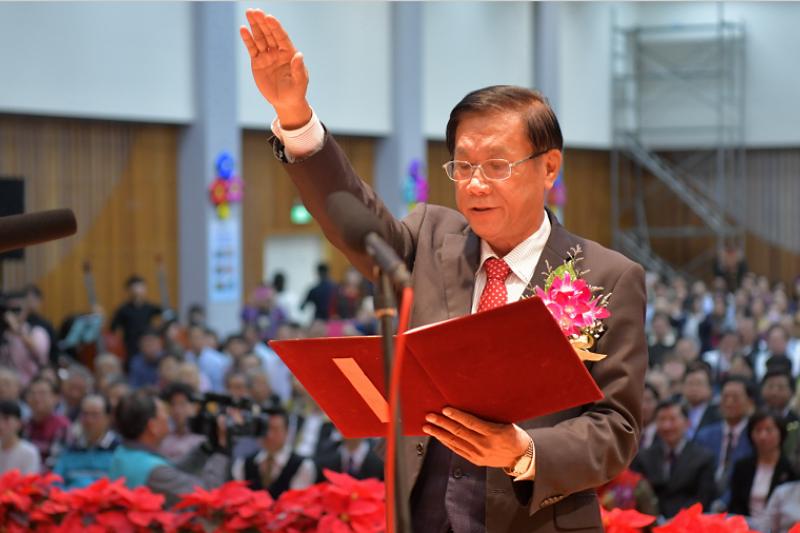南投縣長林明溱連任,25日舉就職強調拚經濟。(圖/南投縣政府提供)