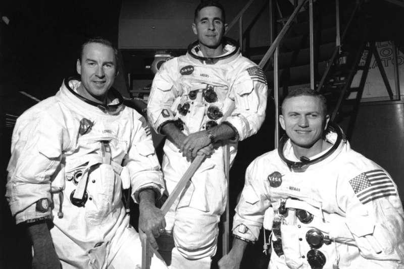 1968年12月18日,阿波羅8號任務太空人洛威爾、安德斯、博爾曼。(AP)