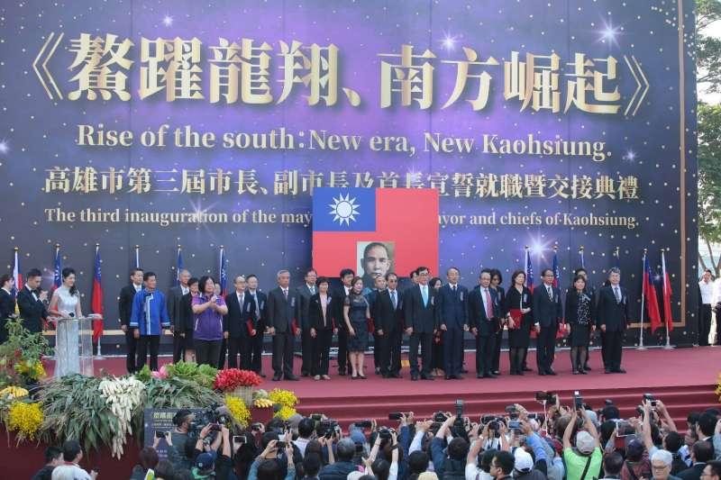 20181225-高雄市長韓國瑜25日在愛河畔舉行就職暨交接典禮。(顏麟宇攝)