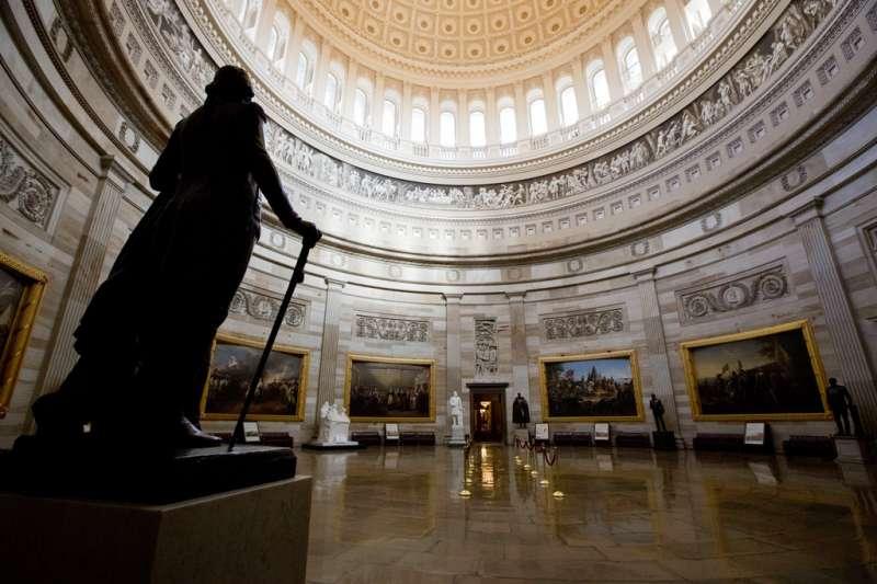 美國國會大廈的圓形大廳。(美聯社)