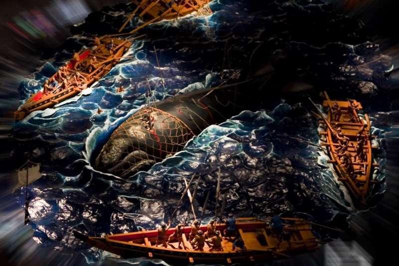 日本平戶市生月町博物館的捕鯨情境復原模型。(長崎縣官網)