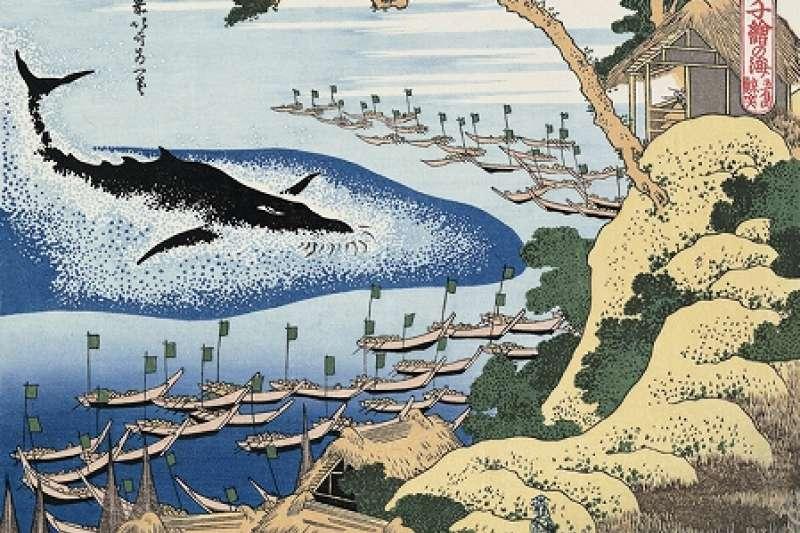葛飾北齋的捕鯨浮世繪。(維基百科)