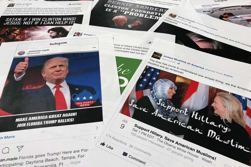 2016年美國總統大選,俄羅斯在臉書等社群媒體散布假消息與仇恨言論,全力為川普助選(AP)