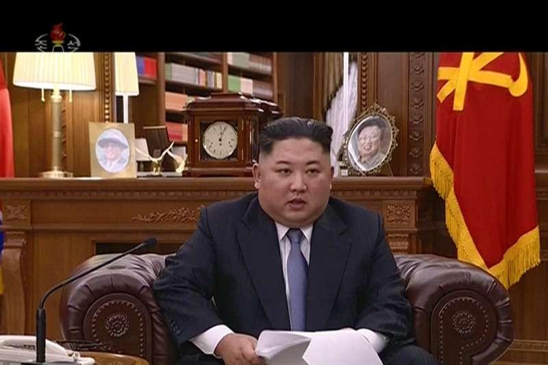 2019年1月1日,北韓官媒朝鮮中央電視台播出北韓最高領導人金正恩發表的新年賀詞。(AP)