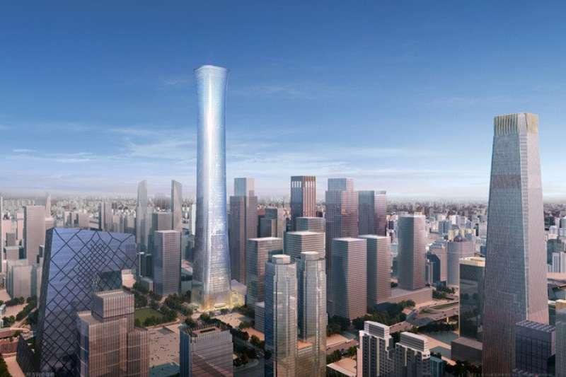 高達528公尺的中國尊,總共有108樓,目前是全球第八高的建築物(圖片取自Flickr)