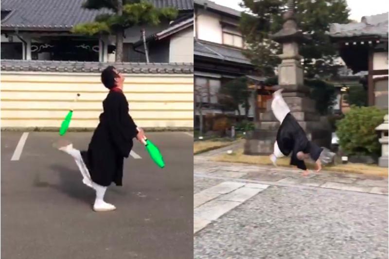 先前日本一名和尚穿僧服開車被罰危險駕駛,意外引發各地同僚「另類聲援」!紛紛貼出身穿傳統長袍跳躍、跳繩和雜耍的影片為這名和尚辯護,證明穿著長袍行動也能很敏捷。推特網友笑翻大讚:千萬別惹日本和尚!(圖/截自Twitter)