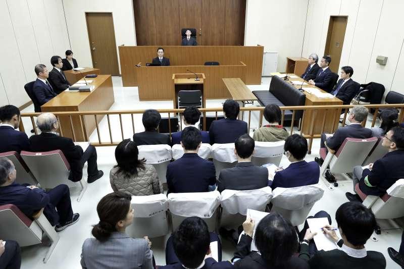 2019年1月8日東京地方法院開庭說明羈押日產前董座戈恩的理由。(AP)