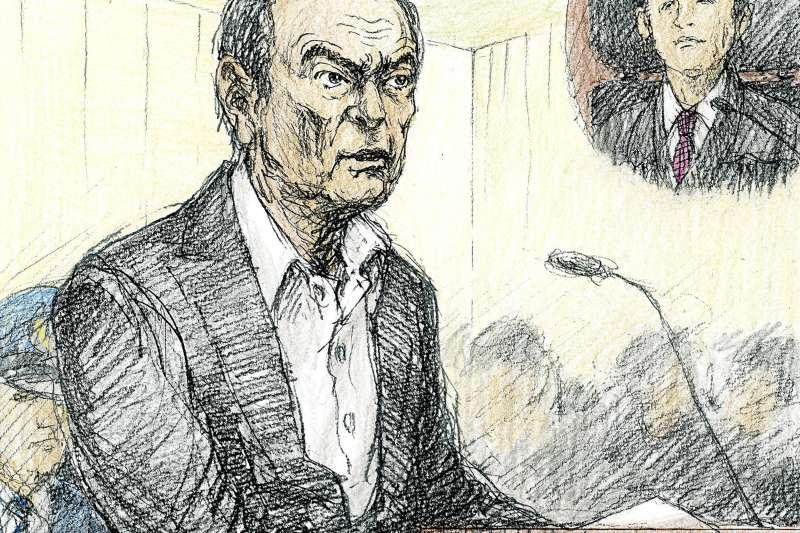 2019年1月8日東京地方法院開庭說明羈押日產前董座戈恩的理由,戈恩出庭喊冤,10分鐘自述力陳清白。(AP)