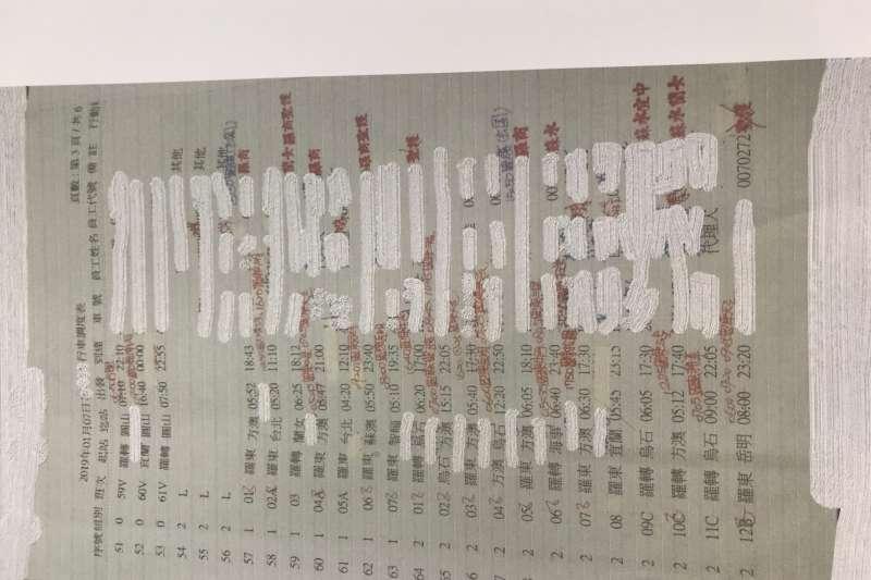 20190109-圖為國內知名客運公司2019年1月7日行車調度表。(自台灣汽車客運業產業工會提供調度表)