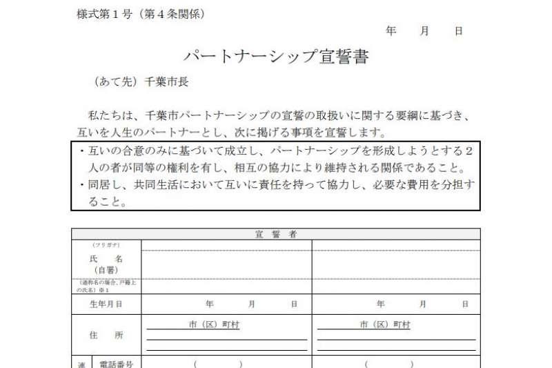 千葉市推出適用同性及異性伴侶的證書制度。(翻攝千葉市政府)