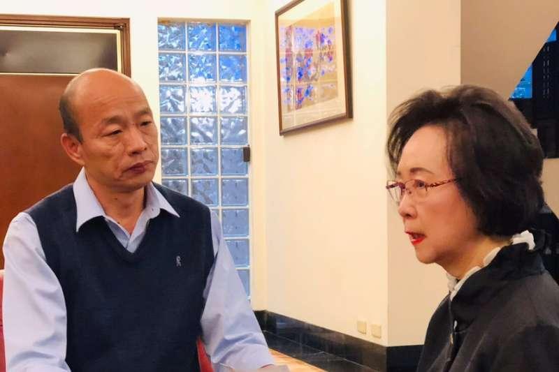 2019年1月13日高雄市長韓國瑜北上邀請知名作家瓊瑤擔任「最高愛情顧問」(韓國瑜幕僚)
