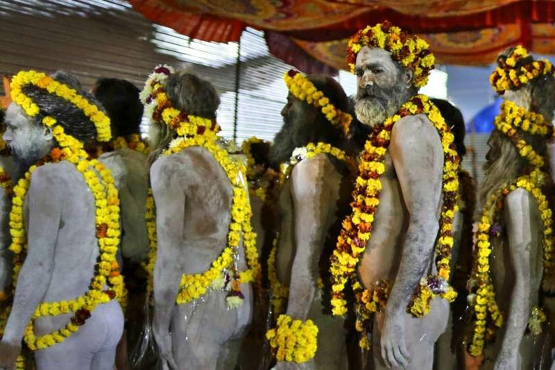 印度大壺節:參加活動的印度教神職人員(AP)