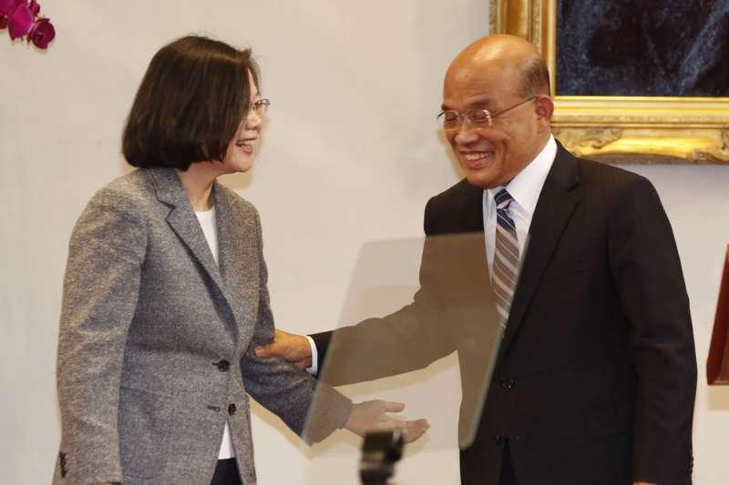蘇貞昌組閣,蔡蘇體制有機會讓雙首長制朝內閣制傾斜。。(郭晉瑋攝)