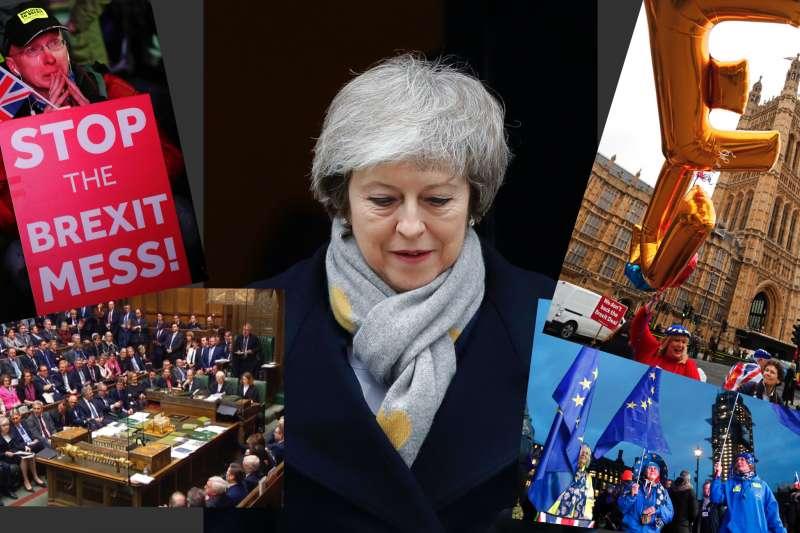 英國脫歐協議在下議院觸礁,也讓梅伊政府遭逢上台以來的最大挫敗。(美聯社)