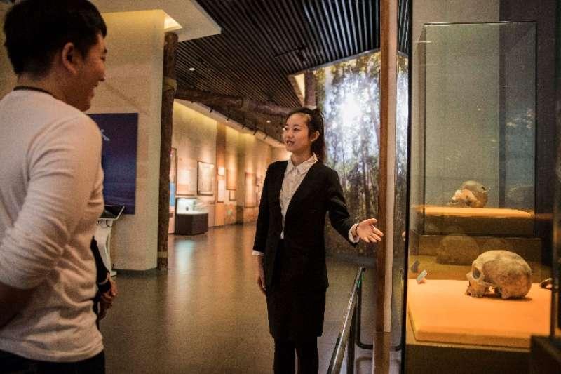 在扎賚諾爾博物館內,講解員張曉莉正在給遊客講解「扎賚諾爾人」頭骨化石。(新華社)