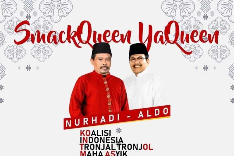 印尼2019年總統大選爆紅的虛構候選人努哈迪(Nurhadi)、阿爾多(Aldo)。(翻攝自Nurhadi - Aldo臉書粉絲專頁)