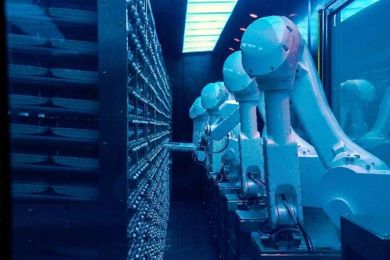 2018年12月5日,在北京一家智慧火鍋餐廳,出菜機通過機械臂在倉庫進行配菜(新華社)